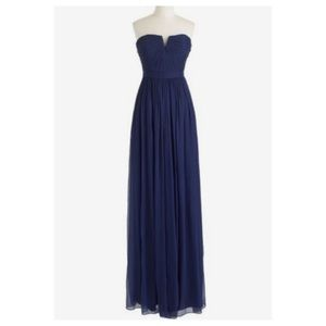 J Crew Nadia Navy Silk Chiffon Strapless Gown